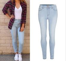 Большой размер 2016 осень женщины упругие высокая талия Jeasn карандаш брюки мода свободного покроя голубой тощие хлопок джинсовые брюки