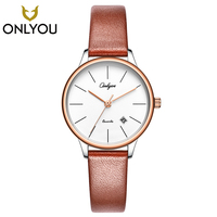 ONLYOU Casual Women Watches Simple Design Genuine Leather Strap Quartz Wristwatch Ladies Dress Watch Big Dial Female Clock