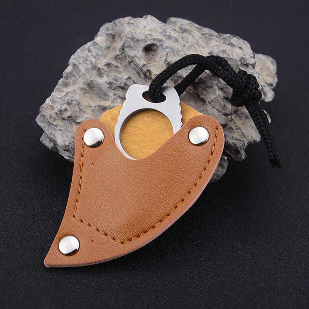 Camping en plein air mousqueton survie doigt griffe couteau crochet fixe anneau carte EDC outil Mini couteau de poche en cuir gaine Multi outil