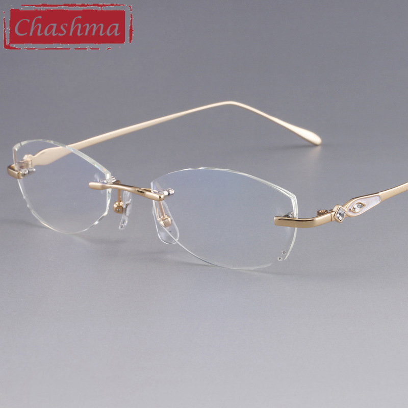 Chashma Designer Eyeglasses Diamond Female Rimless Titanium Glasses Frame Transparent Stone Lenses Women Prescription Spectacles