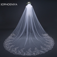 New Arrival 3 Meter Wedding Veil White Ivory Lace Appliques Beaded Wedding Accessories Velo De Novia