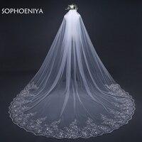 New Arrival 3 Meter Wedding Veil White Ivory Lace Appliques Beaded Wedding Accessories Velo De Novia