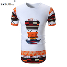 Fashion Tops brand Male casual short sleeved T-shirt New cartoon pattern Men slim O-neck long style t-shirt men large size Tees