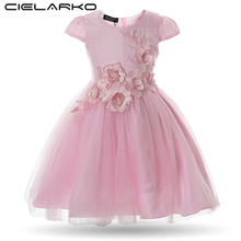 Cielarko Girls Dress Birthday Party Baby Flower Dresses Appliques Mesh Kids Wedding Frocks Children Evening Ball Gowns for Girl