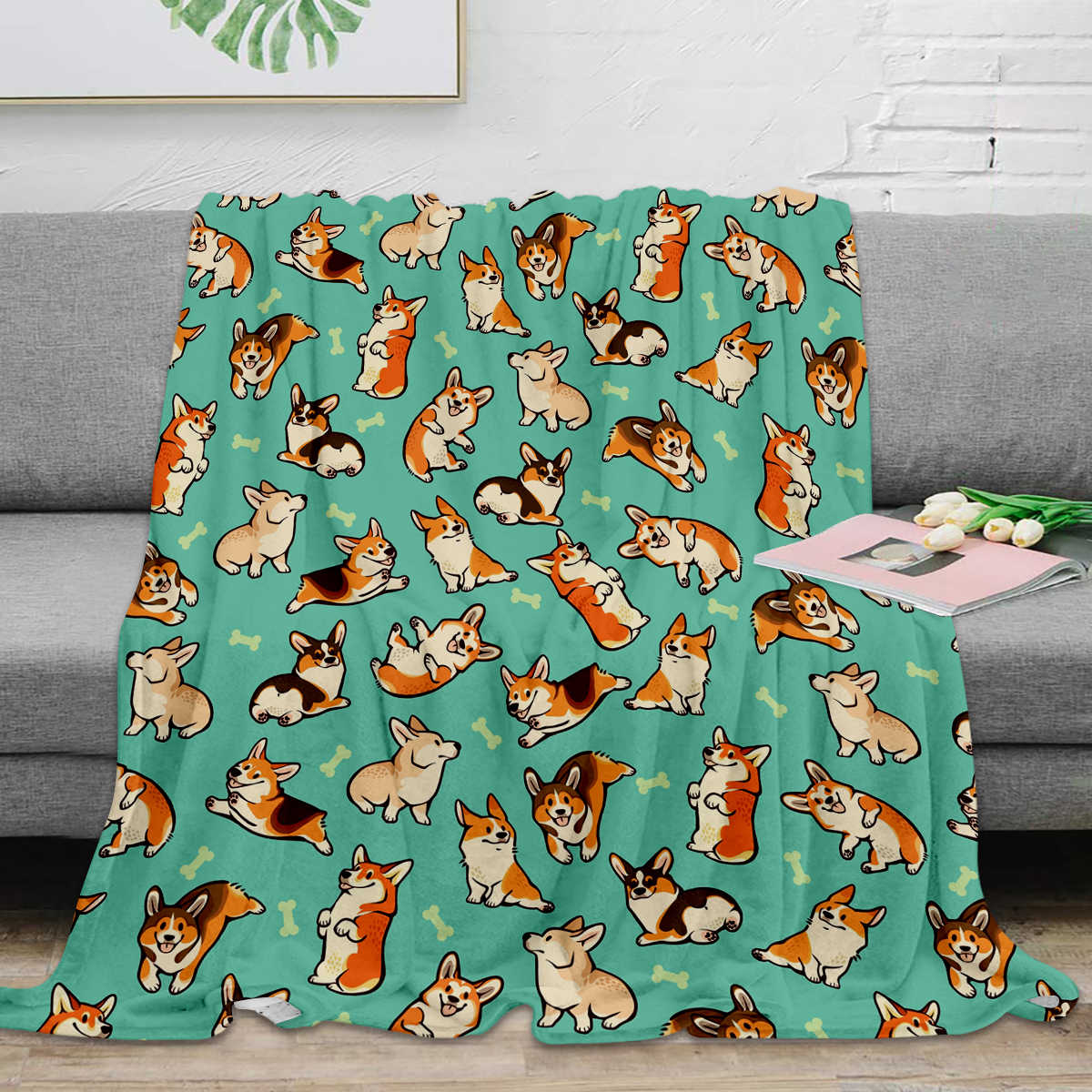 Jolly Corgis In Green Throw Blanket Home Decoration Dog and Bone  Warm Microfiber Blankets For Bedroom