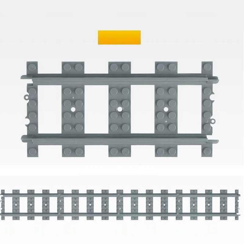 10Pcs/Lot City Train Track Rail Straight Rails Curved Rails Figure Blocks Construction Toys For Children Compatible