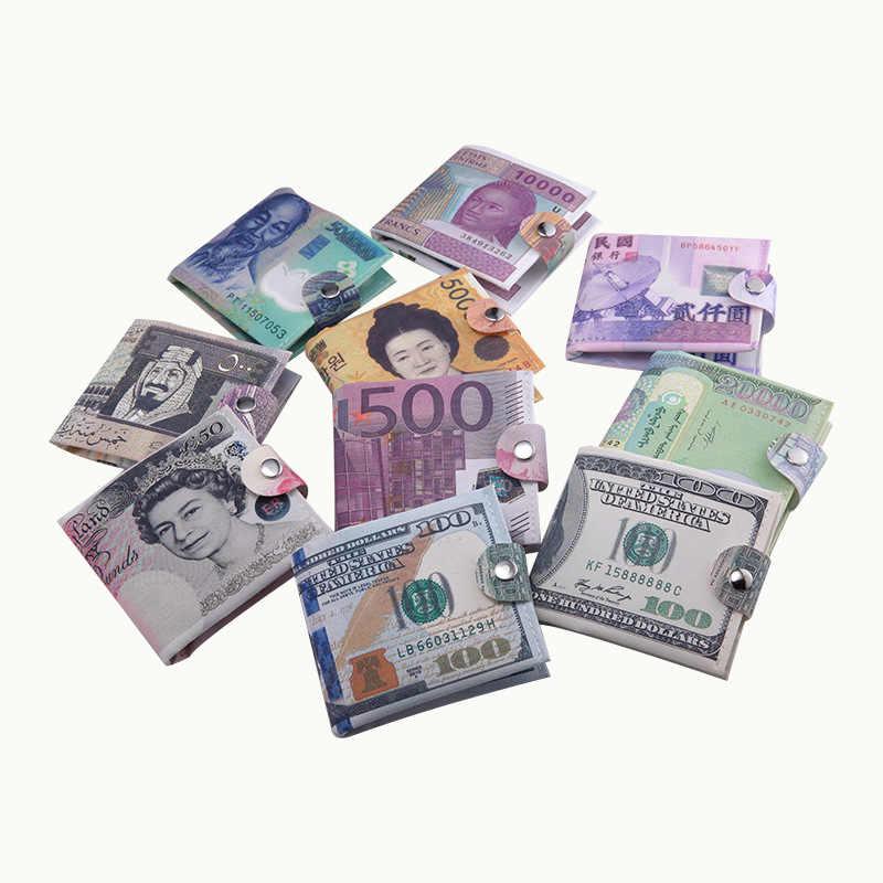 2018新しい紙マネークリップ男性女性キャンバスドルユーロ財布短いスリムミニ財布2を折る学生漫画安いギフトコインバッグ