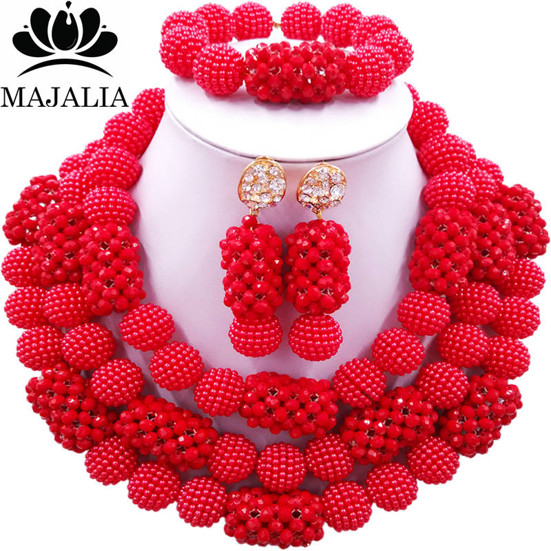 Majalia Fashion Charming Nigerian Wedding African Jewelry Set Red and Opaque red Crystal Necklace Bride Jewelry Sets 3SZ076 fever opaque hold ups with red bows and cross applique чулки для медсестры