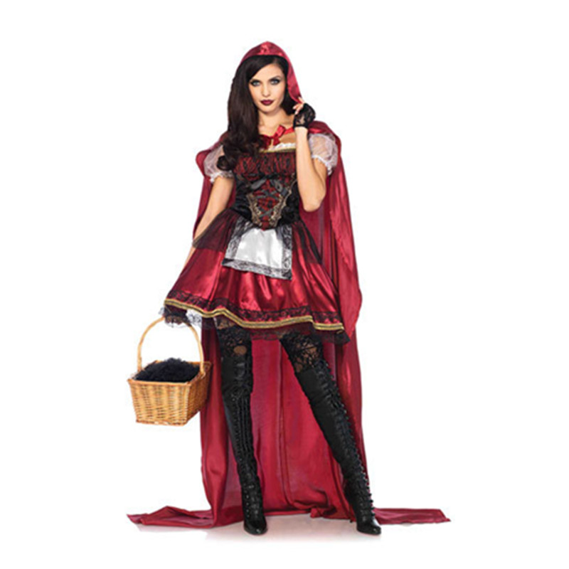 2017 Halloween Women Dress Little Red Riding Hood Cosplay Costume Fairy Tale Party Dresses with Cape Cloak Masquerade Clothing