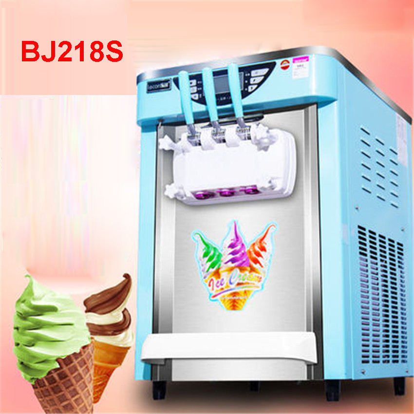 BJ218S Commercial Soft Ice Cream Machine 2000W 220V/50 Hz Ice Cream Maker 21-26L / H 3 Flavors Yogurt Cylinder volume  7.2L * 2