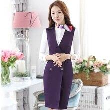 Весна Осень формальные тонкие модные платья костюмы с блузкой и платьем для женщин офисная Рабочая одежда салон красоты блейзеры наряды красный