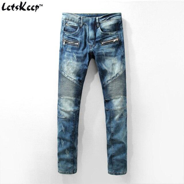 2016 Letskeep Новых людей джинсовые узкие джинсы панк мужчины полосатый проблемные тонкий джинсы мужские байкер moto джинсы брюки плюс размер, MA276