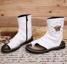 CH.KWOK Japanese style cool men's fashion sandals white/black rome style open toe zipper sandal boots metal decoration men shoes