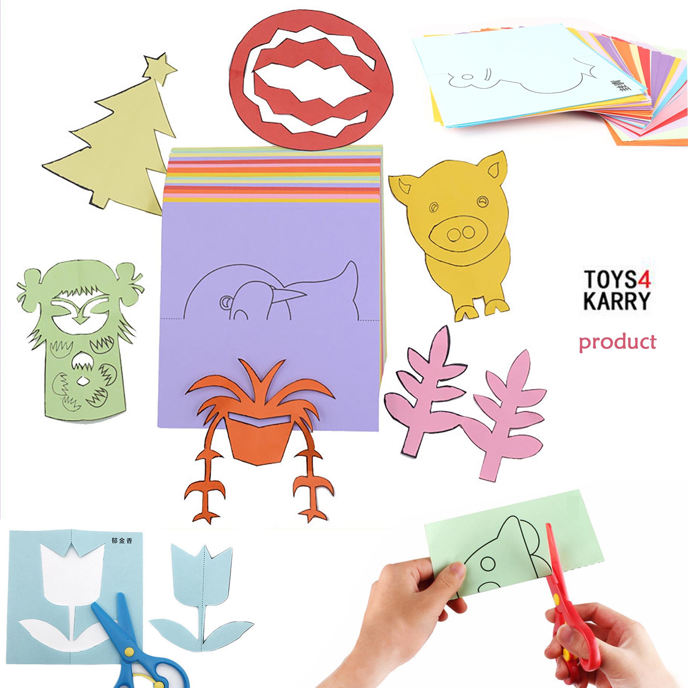 Kids Crafts Cartoon Color Paper Folding Cutting Toys For Children Kingergarden Intelligence Learning Educational DIY Art Craft