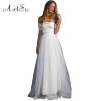 ArtSu White Mesh Women Lace Dress Elegant Long Ball Gown Dresses Sexy Slash Neck Plus Size Party Vestido De Festa ASDR30279