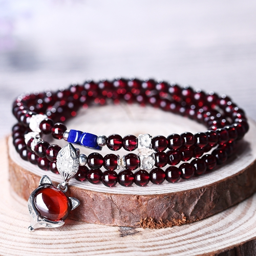 Sale Three Times Natural Stone Garnet Sweater chain Fox Shape Necklace/Bracelet 1 Strand Beads29cm 27.7g death times three