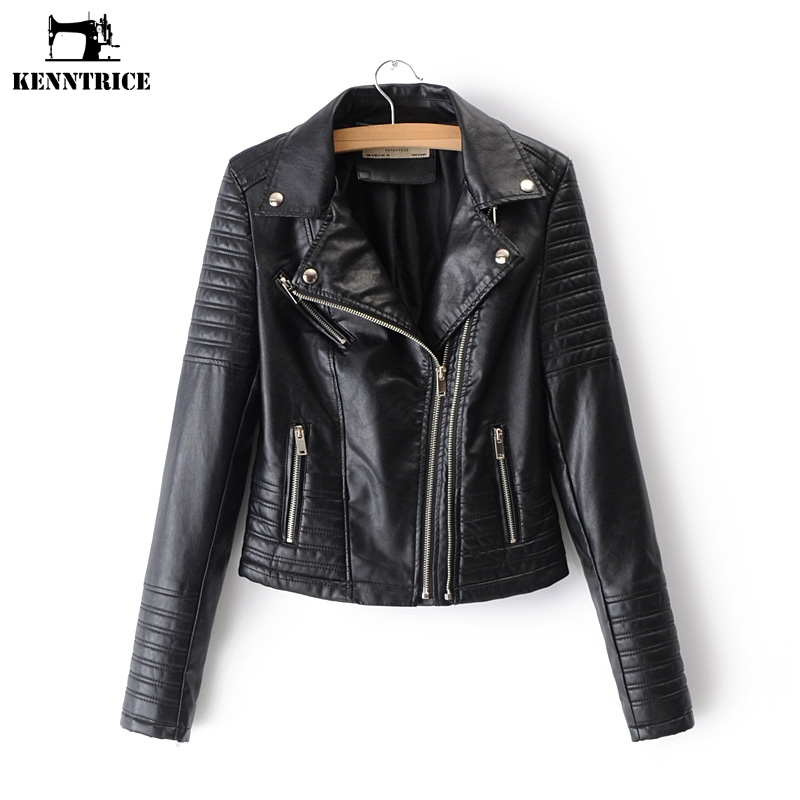Kenntrice Female Coat Faux Leather Jackets Women Leather Jackets Outwear Female Womens Leather Jackets and Coats