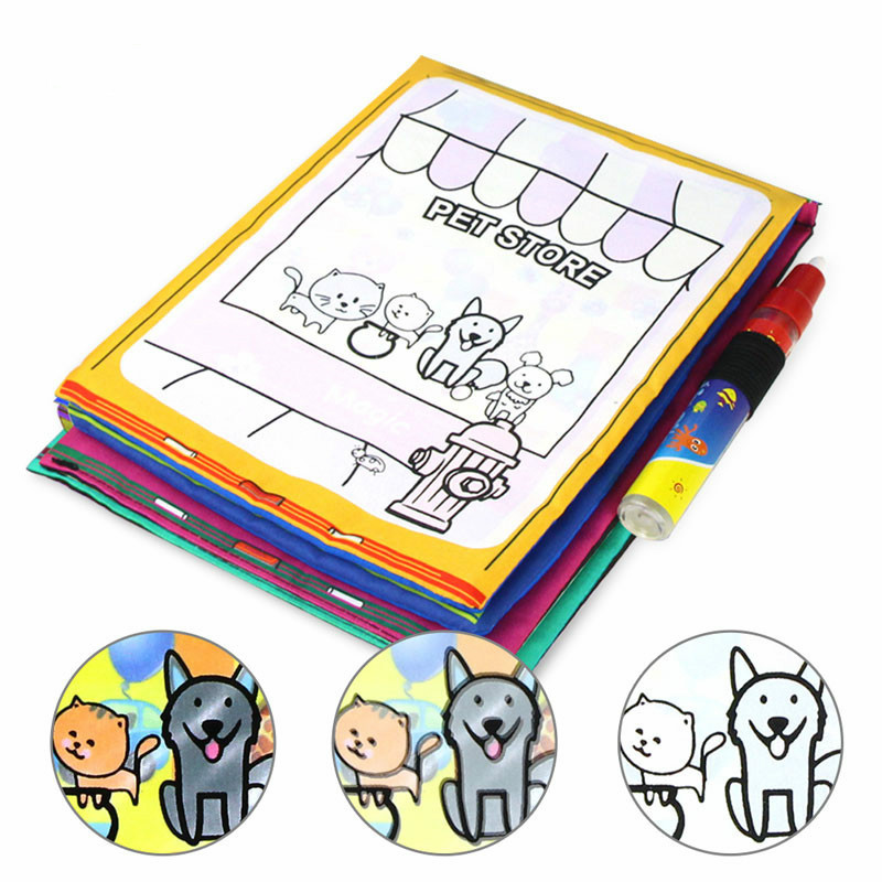Baby Draw Magic Doodle Cloth Book Children Early Education Puzzle Learning Water Magic Doodle Water Canvas Book For Kids