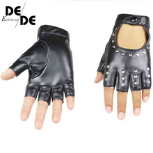 Fashion Half Finger Gloves Men Faux Leather Mittens Fingerless Tactical Women Driving Guantes R009