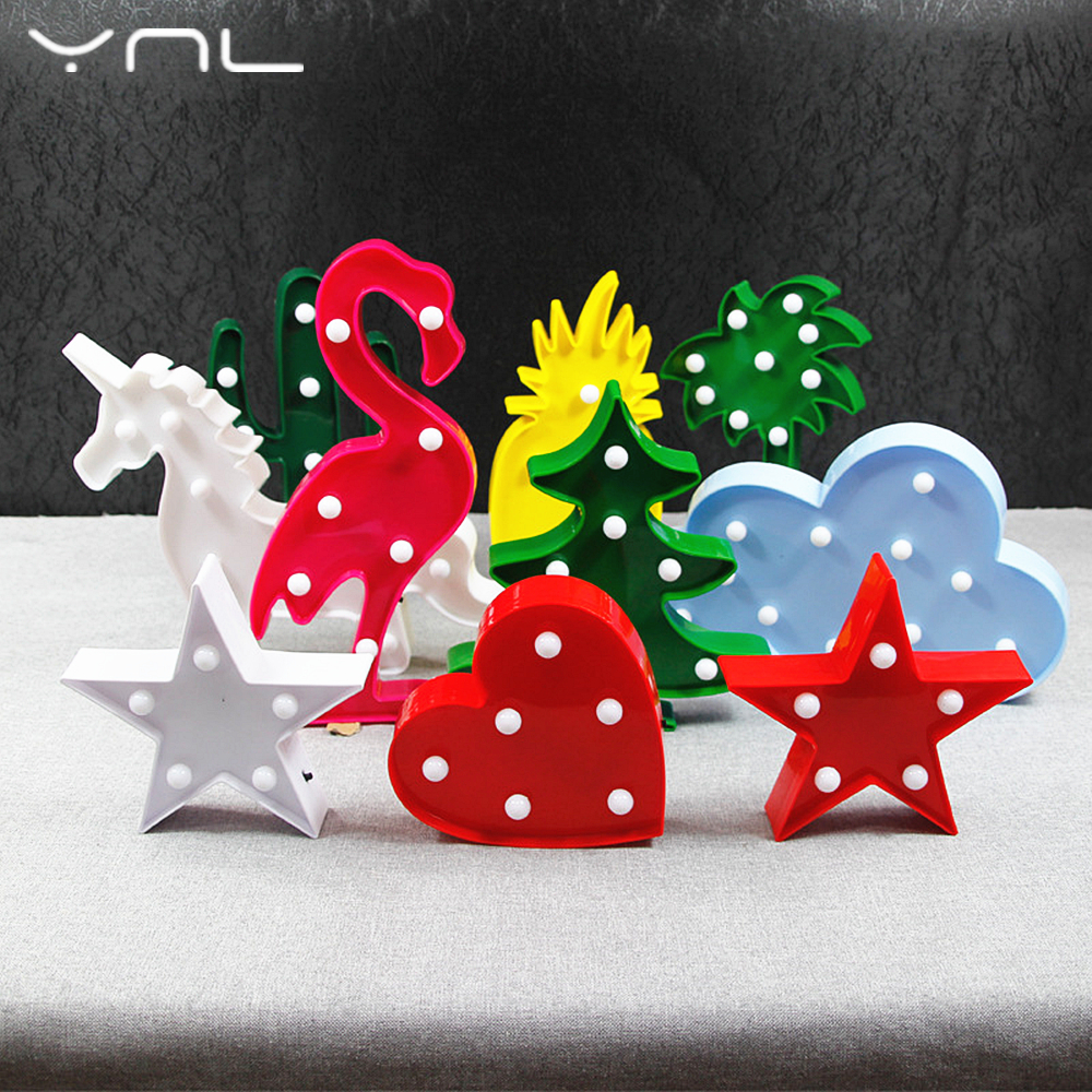 YNL 3D LED Night Light Flamingo Unicorn Christmas Tree Star Cloud Cactus Cartoon Wall light Children Night Lamp Romantic Battery christmas tree star print tapestry wall hanging art%2