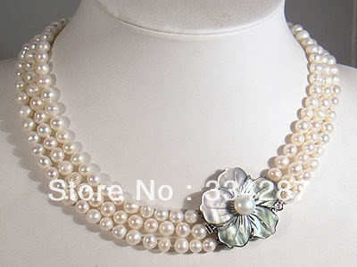 100% Selling Picture full 3Rows 7-8mm White Akoya Pearl Necklace Shell Clasp