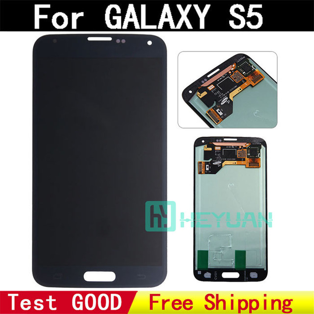 100% Original test good for Samsung Galaxy S5 G900F/M/A/P/T/V LCD display touch screen Digitizer with sticker freeshipping