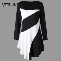 VESTLINDA Plus Size Two Tone Asymmetric Tunic Tee Shirt Women Fashion O Neck Long Sleeves Casual