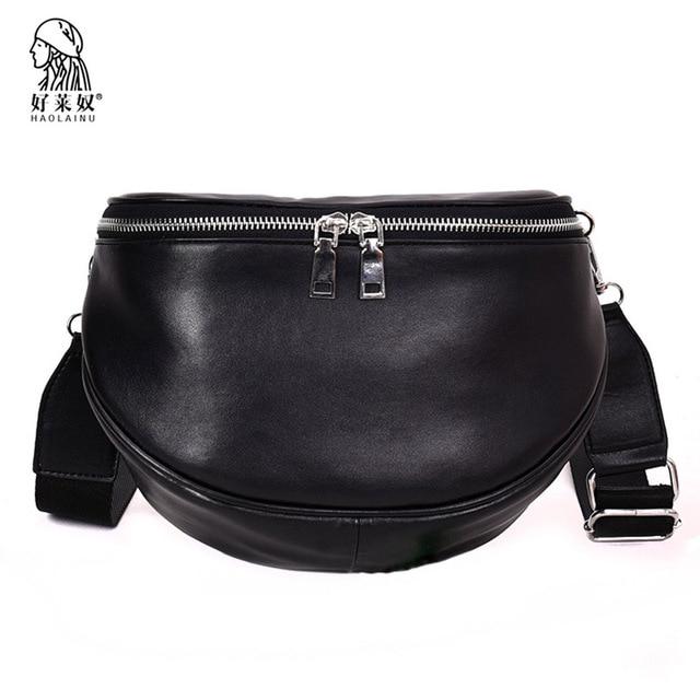 2018 Classic Women Leather Waist Belt Bag Black Belt Pack Waist Bag Small  Fashion Women Travel