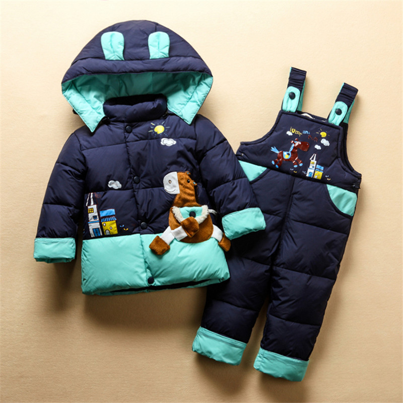 Winter Warm Baby Boys Girls Snowsuit Children Duck Down Outerwear Coat+Pant Clothing Set Animal Little Horse