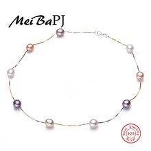 [MeiBaPJ] collar de perlas de Agua Dulce Naturales 7-8mm 45 cm 18 K chapado en oro Joyería de La Cadena Gargantilla para Las Mujeres de Regalo Promocional Para El Verano