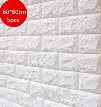 60X60cm 5 pcs 3D Brick Wall Stickers DIY Self Foam Waterproof Decor Covering Wallpaper For TV Background Kids Living Room