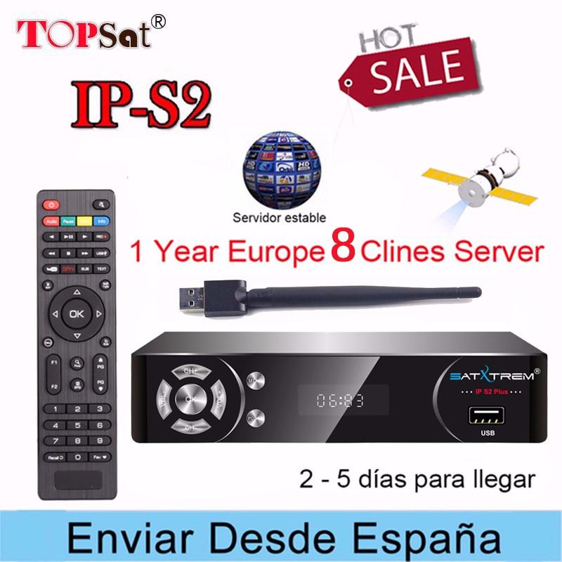 SATXTREM IPS2 Satellite TV Empfänger HD Rezeptor + Europa cccam 8 cline für 1 jahr spanien unterstützung IPTV Decoder TV BOX + USB WIFI