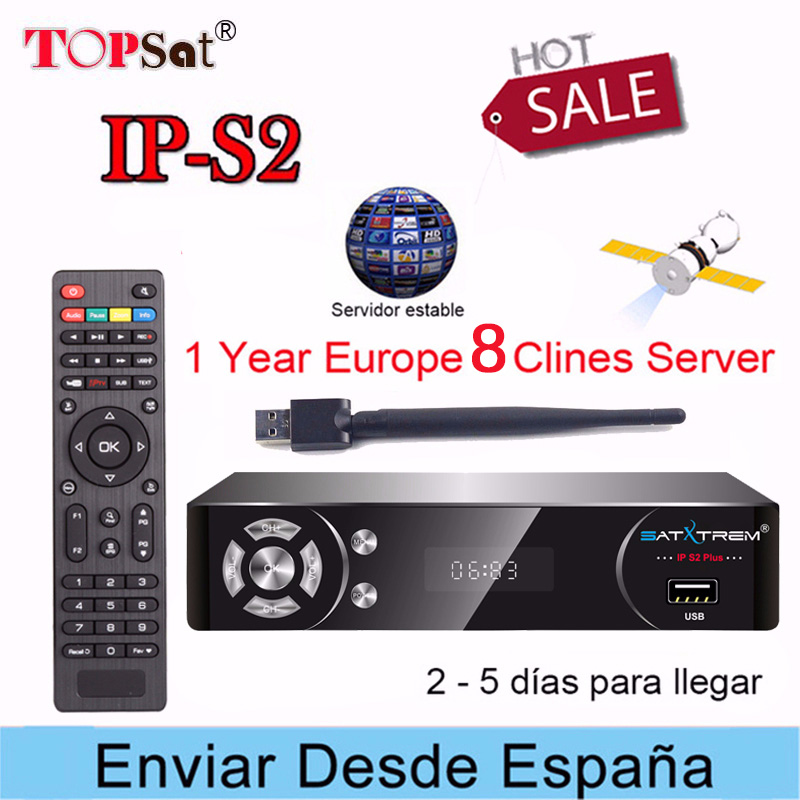 US $35 0 20% OFF|SATXTREM IPS2 Satellite TV Receiver HD Receptor + Europe  cccam 8 lines for 1 year spain support IPTV Decoder TV BOX pk v8 nova-in