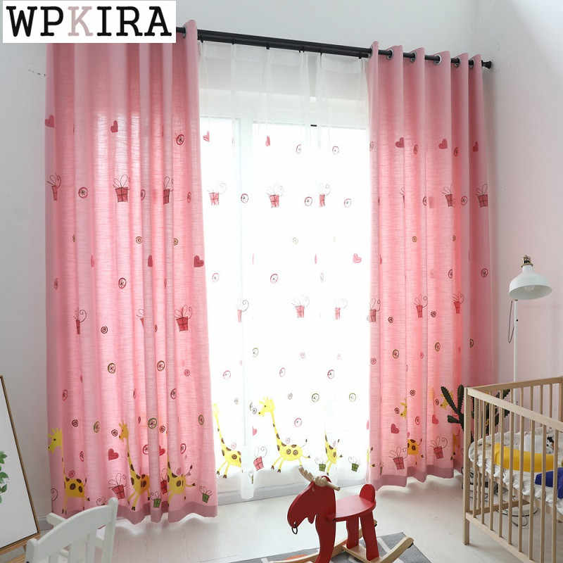 Cartoon Pink Embroidery Window Screens Curtains For Living Room Bedroom Curtains Sheer Cloth S159&30