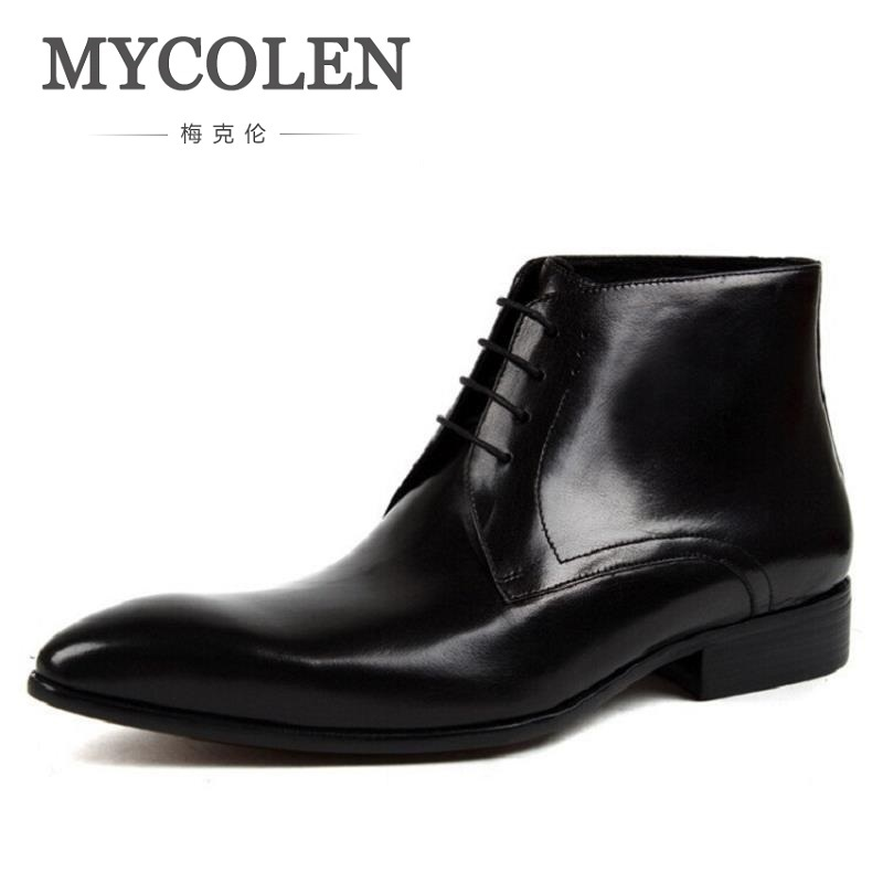 MYCOLEN Genuine Leather Men Boots Winter British Style Causal Classic Lace-Up Shoes Botas Mens Minimalist Design Ankle Boot classic style classic mens dress shoes deep coffee color genuine leather oxford shoes for men lace up pointy loafers high heels