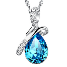 купить Wholesale 925 sterling silver fashion shiny blue crystal water drop ladies`pendant necklace jewelry women short chain no fade по цене 167.63 рублей