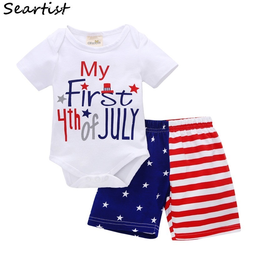 Seartist Baby Boys Girls July 4th Clothing Sets of Clothes Suits Romper+Shorts Bebes Fourth Boy 48