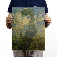 Umbrella Woman / Nostalgic Retro Oil Painting Kraft Paper Poster Decorative Painted Core 36x47cm wall art