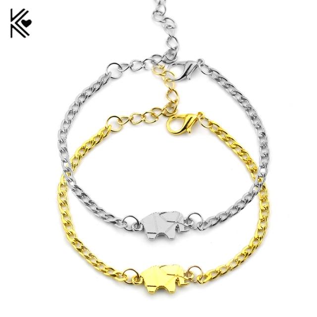 6ca632c60015 2017 oro color Amuletos pulsera mujer mujeres joyería delicada origami  elefante pulseras amistad regalos para hombres