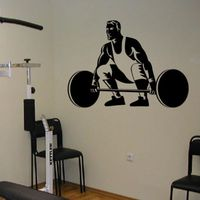 DCTAL Gym Sticker Fitness Barbell Crossfit Decal Body building Posters Vinyl Wall Decals Parede Decor Mural Gym Sticker