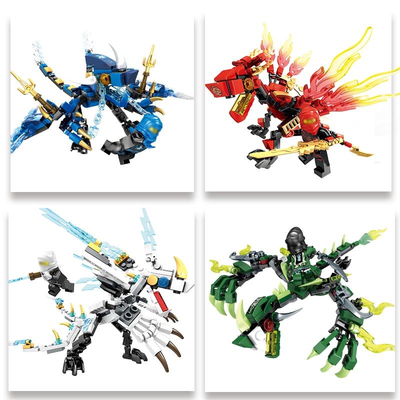 142 Pcs Ninjagos Dragon Knight Building Block Compatible Ninja Zane Kai Jay Educational DIY Brick Toys For Children
