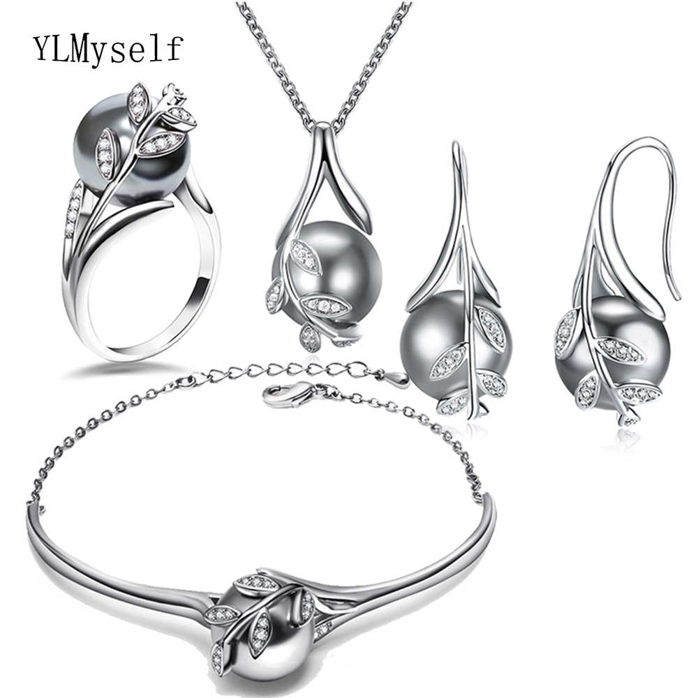 Best gift for mom Hot Nice Suspension Pendant Bracelet earrings ring silver plate Grey pearl Fashion leaf statement jewelry set