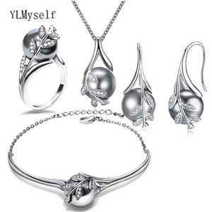 Image 2 - Best gift for mom Hot Nice Suspension Pendant Bracelet earrings ring Grey pearl Fashion leaf statement jewelry set