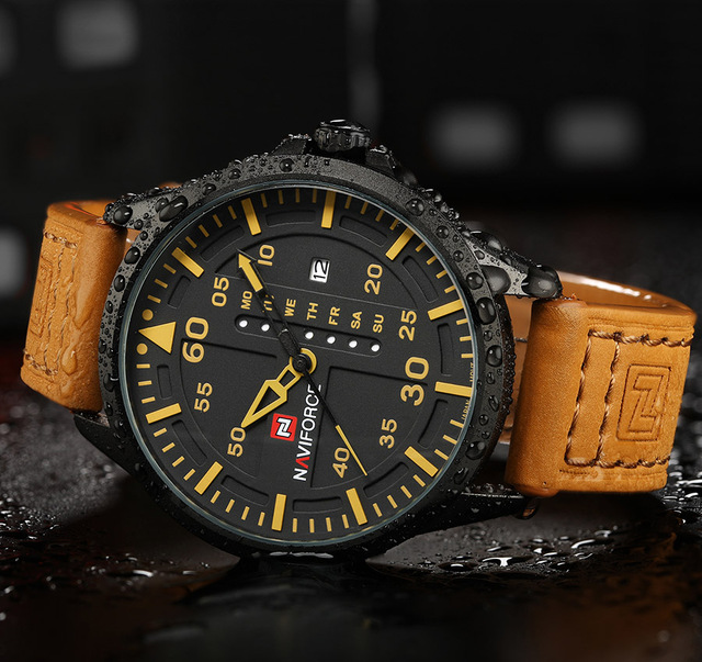Mens' Army Leather Strap Sports Watch