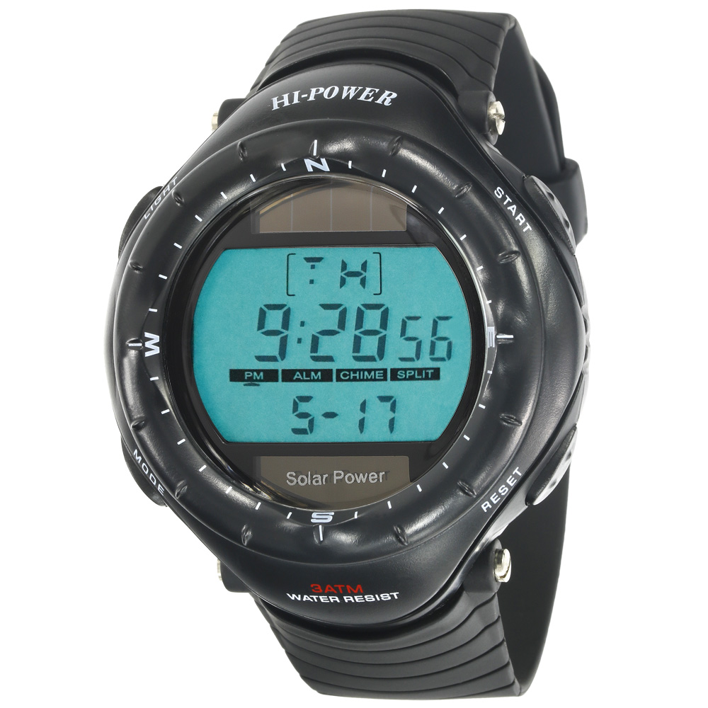 Vogue Muscle Man Digital Stopwatch Back light Waterproof Sport Solar Power Black Watches цена и фото