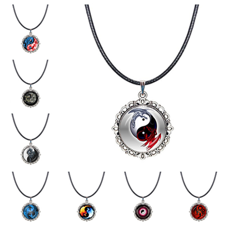 Cheap Price Yin Yang Dragon Choker Necklace Glass Cabochon Time Pendant Chinese Tai Chi Eight Diagrams Symbol Collar Necklace Charm Jewelry Dependable Performance Necklaces & Pendants