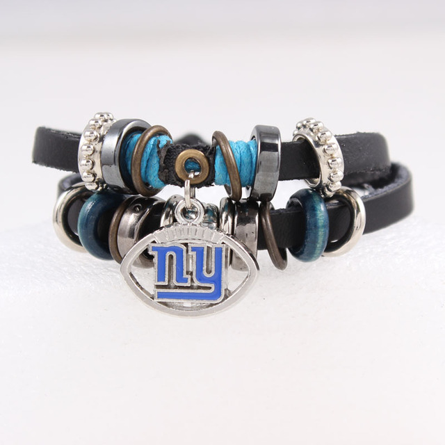 Fashion Football Leather Bracelet Ny Giants Charm For Women Men Jewelry Sport Fans