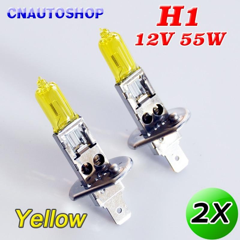 Hippcron из 2 предметов H1 галогенная лампа желтого цвета 12V 55W 3000K ксенона яркие кварцевые Стекло автомобилей головной светильник тумана светильник автомобильных ламп