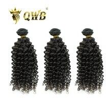 QWB ücretsiz kargo sıkı kıvırcık 3 paket/çok 12 ~ 28 profesyonel oranı brezilyalı bakire doğa rengi 100% insan saç uzatma