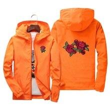 Japan Unisex men women jackets Europe US spring autumn Pretty girls casual orange red cute rose embroidery zipper hooded Coats